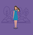 young business woman with smartphone on the park vector image vector image