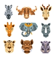 African Animals Stylized Geometric Portrait Set vector image