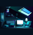 attic room at night cartoon garret vector image vector image