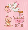 bashower card with pink cart and storck vector image vector image