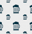 Beer glass icon sign Seamless pattern with vector image vector image