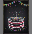 birthday cake with candle festive decorations vector image vector image