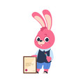 cartoon bunny with diploma pink rabbit holding vector image