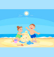 cartoon children playing on the beach vector image