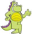 cartoon dinosaur with his legs crossed vector image vector image