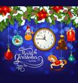 christmas and new year greeting card of santa gift vector image