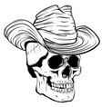 cowboy skull with hat vector image vector image
