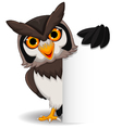 Cute owl cartoon posing with blank sign vector image vector image