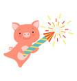 cute piglet with a party popper lovely cartoon vector image