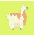 Flat hand drawn icon of a cute lama vector image