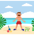Funny kids on the beach Happy boy sunbathing and vector image vector image