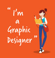 graphic designer character with laptop on orange vector image vector image