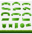 green labels and ribbon set with green grass vector image vector image