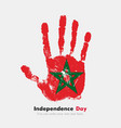 Handprint with the Flag of Morocco in grunge style vector image vector image