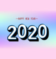 happy new year 2020 logo text design on pastel vector image vector image