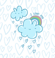 I love you blue valentine clouds vector image vector image