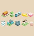isometric dairy factory elements set vector image