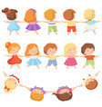 kids standing together holding hands set cute vector image