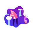 man washing hands with soap over sink in bathroom vector image