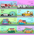 modern city transport flat web banners set vector image vector image