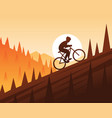 mountain bike climbing scene vector image