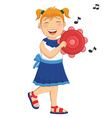 Of A Little Girl Playing Tambo vector image vector image