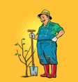 old gardener plants a seedling ecology and vector image