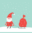 santa claus carrying a big red sack of gifts vector image vector image