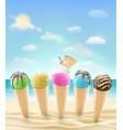 set a real ice cream cone on a sea sand beach vector image
