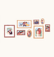 set family photo portraits in frames memorable vector image vector image