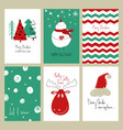 set funny christmas cards vector image