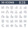set line icons b2b vector image