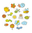 set of funny insects in a childrens style vector image vector image