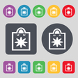 shopping bag icon sign A set of 12 colored buttons vector image vector image