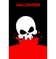 Skull falls into blood Splashes of red blood vector image vector image