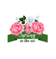 springtime rose flowers spring time icon vector image