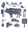 steaks vintage style icons set vector image vector image