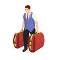successful businessman with two suitcases of money vector image vector image