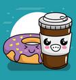 sweet donut with coffee kawaii character vector image