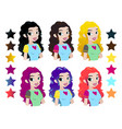 teenager girls head with different color vector image vector image