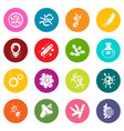 virus bacteria icons set colorful circles vector image vector image