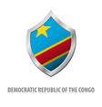 democratic republic of the congo flag on metal vector image
