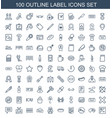 100 label icons vector image vector image