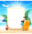 air plane open luggage travel case with starfish vector image vector image