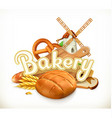 Bakery Bread 3d label vector image vector image
