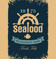 banner for seafood restaurant with wheel and fish vector image vector image
