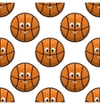 Basketball seamless pattern with funny balls vector image vector image
