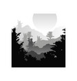 beautiful nature landscape with silhouettes of vector image vector image