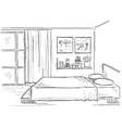 Bedroom interior hand drawing modern home vector image