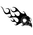 black silhouette bird skull in fire tattoo design vector image vector image